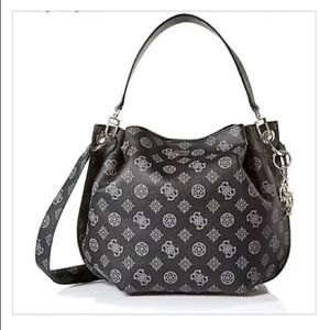 🌺Guess Shoulder Bag Tote Black W/Gray Logo Print